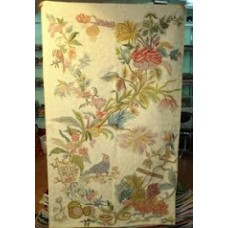 Crewel Rug Exotic flora Cream Chain Stitched Wool Rug