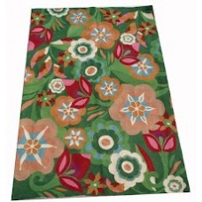 Crewel Rug Floral Spread Multi Chain Stitched Wool Rug
