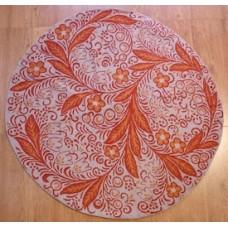 Crewel Rug Flowers & Vines Orange Chain Stitched Wool Rug