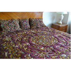 Crewel Bedding Art Nouveau Light Vermilion Silk Organza