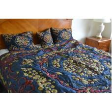 Crewel Bedding Art Nouveau Silky Royal Blue Silk Organza King