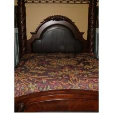 Crewel Bedding Art Nouveau Vermilion Silk Organza King