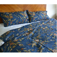 Crewel Bedding Floral Spread Royal Blue Cotton Crewel Duvet Cove