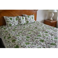 Crewel Bedding Peace Earthly Greens & Brown Silk Dupioni Duvet