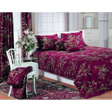Crewel Bedding Random Flowers Plum Duvet Cover Cotton