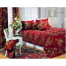 Crewel Bedding Random Flowers Burgundy Duvet Cover Cotton
