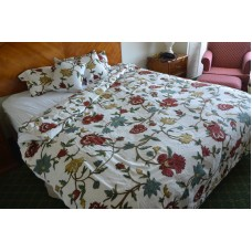 Crewel Bedding Spring Florals Multi Color on Off White Crewel Du
