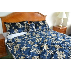 Crewel Bedding Starry Night Royal Mint Blue Cotton Viscose Velve