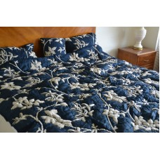 Crewel Bedding Starry Night Deep Blue Silk Organza