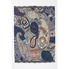Crewel Chain Stitched Shanti Paisley Indigo Blue Wool Rug