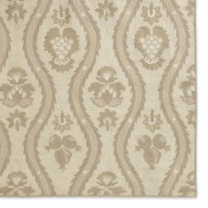 Crewel Chain-stitched Rug Suzani Fruits Neutrals on Creamy White