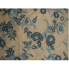 Crewel Fabric Anemone Blue on Raw Silk Organza