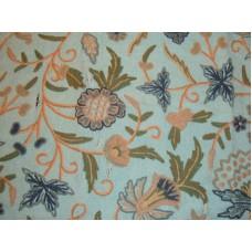 Crewel Fabric Antique Sea Blue Jute