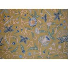 Crewel Fabric Antique Leafy Green Jute