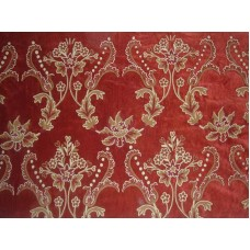 Crewel Fabric Bloom Passion Red Cotton Velvet