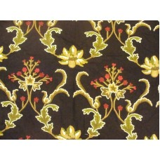 Crewel Fabric Bloom Red and Gold on Black Cotton Duck
