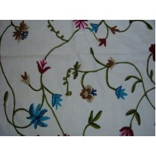 Crewel Fabric Butterfly Off White Cotton Duck