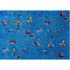 Crewel Fabric Butterfly Royal Blue Cotton Duck