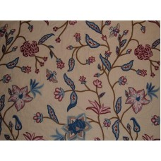Crewel Fabric Butterfly on Blooms Pearl Glow Cotton Duck