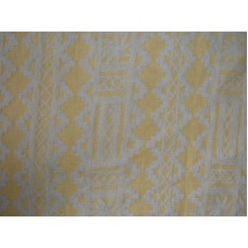 Crewel Fabric Chariot White on Marigold Linen
