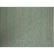 Crewel Fabric Chariot White on Sea Green Linen