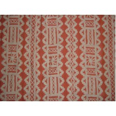 Crewel Fabric Chariot White on Coral Linen