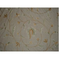 Crewel Fabric Circular Vine Art Silk Embroidery on Natural White