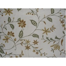 Crewel Fabric Criss Crossed Vines Forest Colors on Off White Cot
