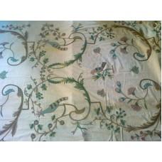 Crewel Fabric Danza Pavoni Multicolor on Off White Cotton Duck