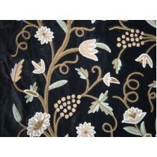 Crewel Fabric Grapes Black Nocturn Cotton Velvet