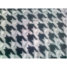 Crewel Fabric Hound's Tooth Black on White