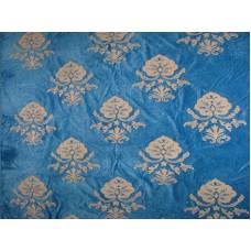 Crewel Fabric Konark White on Royal Blue Cotton Velvet