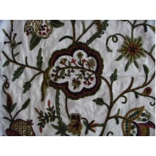Crewel Fabric Lotus Classic Forest Colors on Off White Cotton Du