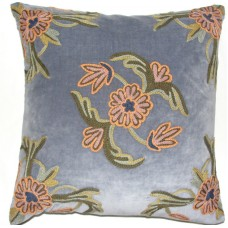 Crewel Pillow Alyssum Blissful Blue Cotton Velvet