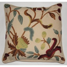 Crewel Pillow Alissa Cream Cotton Duck (18x18)