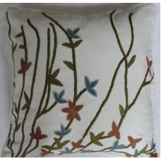 Crewel Pillow Aquatic Blooms on White Cotton Duck