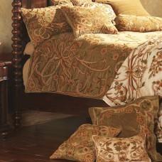 Crewel Pillow Art Nouveau Chocolate Brown Cotton Velvet Standard