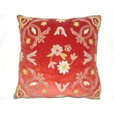Crewel Pillow Art Nouveau Red Cotton Velvet-16x16