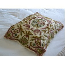 Crewel Pillow Art Nouveau Classic White Silk Organza20x26