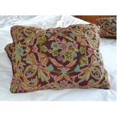 Crewel Pillow Art Nouveau Light Vermilion Silk Organza Standard