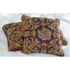 Crewel Pillow Art Nouveau Light Vermilion Silk Organza 16x16