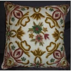Crewel Pillow Art Nouveau Classic White Silk Organza16x16
