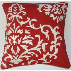 Crewel Pillow Barreoir White on Exotic Red Cotton