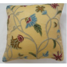 Crewel Pillow Blue Iris Hay Gold Silk Organza