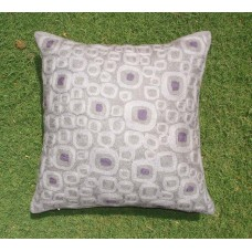 Crewel Pillow Blocks on wall Purple Cotton Duck