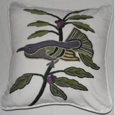 Crewel Pillow Blue Bird on White Cotton Duck