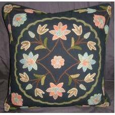 Crewel Pillow Button Pom Black Cotton