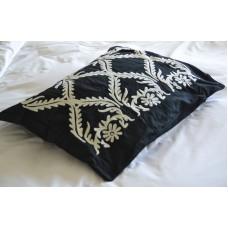 Crewel Pillow Sham Art Deco White on Blackgrapes Cotton Duck 20x