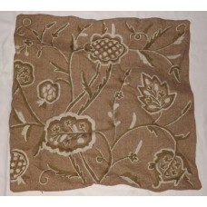 Crewel Pillow Sham Lotus White and Green on Natural Brown Jute16