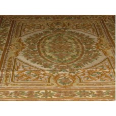 Crewel Rug Bagh Brown Chain Stitched Wool Rug